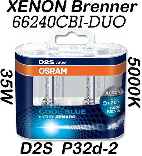 Preisvergleich Produktbild 2x OSRAM XENARC COOL BLUE INTENSE D2S Xenon Scheinwerferlampe 66240CBI 20% mehr Licht 1 Stück in der Faltschachtel …