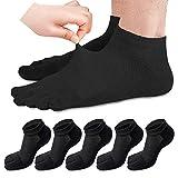 REKYO Männer Zehen Socken Low Cut fünf Finger Socken weichen und atmungsaktiven niedrig geschnittene Baumwollsocken für Männer (Schwarz-5)