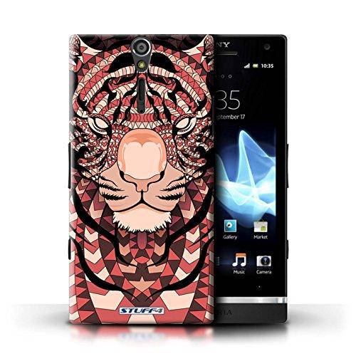 KOBALT® Hülle Case für Sony Xperia S/LT26i | Wolf-Sepia Entwurf | Aztec Tier Muster Kollektion Tiger-Rot
