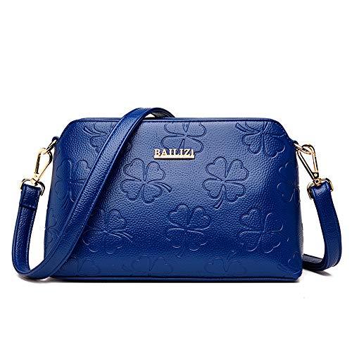 Damen Umhängetasche, Kuriertasche, Clutch, weiches Leder, blau (Blau) - ndfu-42442 -