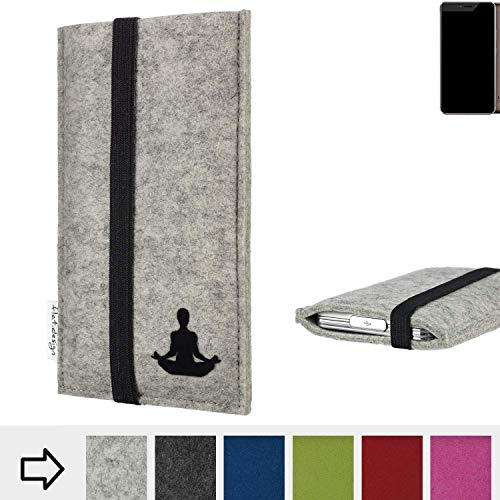 flat.design Handy Hülle Coimbra für Allview X4 Xtreme - Yoga Asana Lotussitz Tasche Case Filz Made in Germany hellgrau schwarz