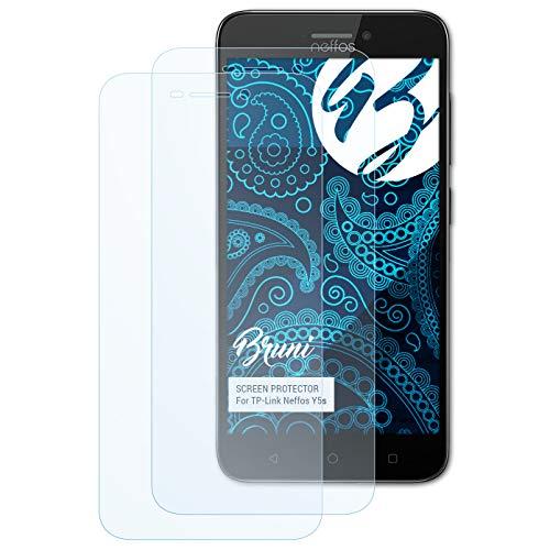 Bruni Schutzfolie kompatibel mit TP-Link Neffos Y5s Folie, glasklare Bildschirmschutzfolie (2X)