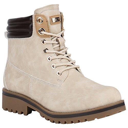 Bootsparadise Stivaletti Da Donna Stivali Da Lavoro Caldi Foderati Flandell Crema Berkley