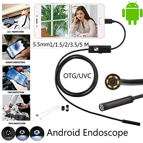 MTK Endoskop-Kamera 6 FüHrte 0,3 Megapixels 5.5Mm Objektiv Endoscope Ip67 Wasserdichte Inspektion Endoskop USB-Draht-Schlange-Schlauch-Kamera FüR OTG Kompatible Android-Smartphones, 1/1.5/2/3.5/5/10M -