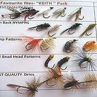 "Pesca moscas ""Keith"" favorito trucha vuela seca 20 unidades moja ninfas # UK 16 unidades"