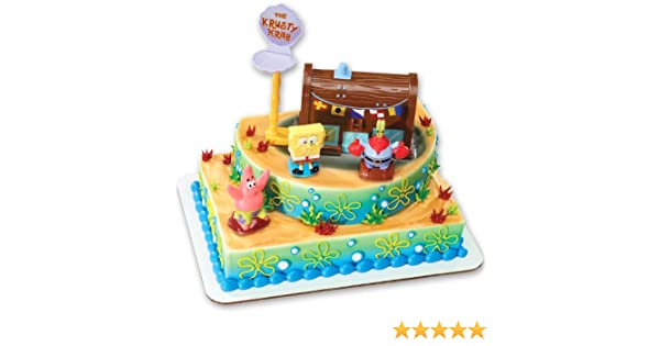 Peachy Spongebob Squarepants And The Krusty Krab Cake Topper Decorating Funny Birthday Cards Online Alyptdamsfinfo