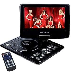 """DBPOWER® Lecteur DVD Portable 9.5"""" écran LCD Rotatif USB, Soutien DVD,VCD,CD(Noir)"""