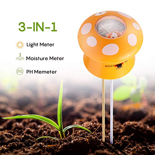 Ulikey Bodentester 3-in-1 Bodenfeuchtigkeit Meter, Boden PH Meter Digitales Boden PH Wert messgerät für Pflanzen, Garten, Bauernhof, Rasen, Indoor & Outdoor (kein Batterien erforderlich)