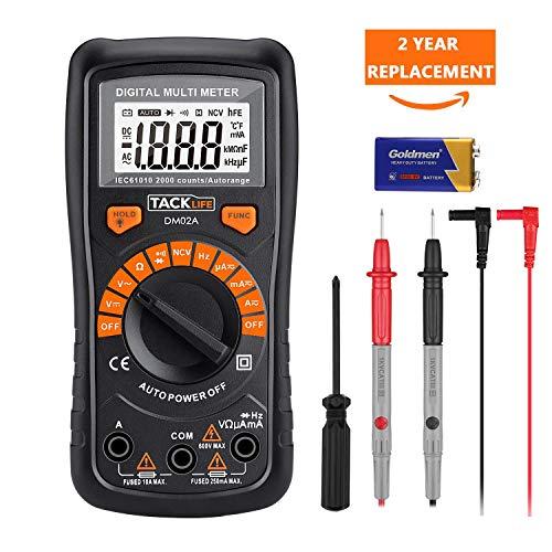 Multimetro Digitale Classico, Tacklife DM02A Multi Tester con Rilevamento di Voltaggio Senza...