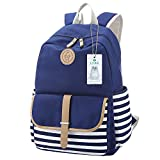 S-ZONE Preppy French Breton Nautical Striped Backpack Rucksack Marine Sailor Navy Stripy School Bags for Women Ladies Girls(B-Blue)