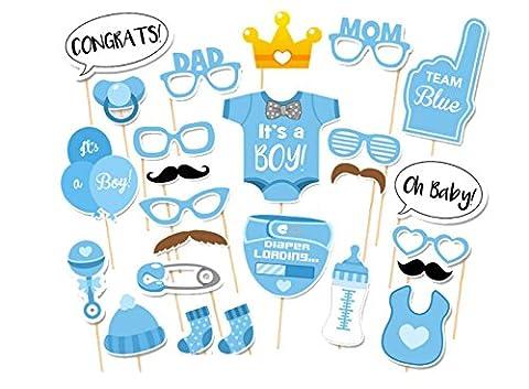 Freessom Photobooth Babyshower Boy Bebe Garcon Kit de 25pcs Bleu