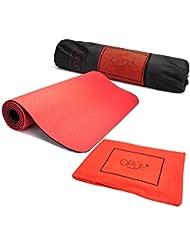 Esterilla de yoga - Colchoneta de Ejercicio para Pilates con Doble Capa, Toalla 100% microfibra y bolsa de transporte - Juego de esterilla para gimnasio, fitness de alta calidad, impermeable de Opul