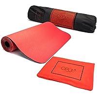 OPUL Tapis de Yoga - Tapis pour Pilates Double Couche avec Serviette 100% Microfibre et Sac de Transport - Haute Qualité, Etanche, sans Toxine, sans PVC, Tapis de Gym Non Glissant, Tapis Fitness par