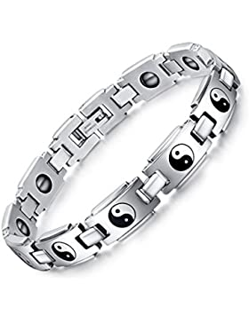 joielavie Schmuck Armband Armreif Yin Yang Tai Chi Acht Trigramme Symbol Hämatit Religion Ethnic Edelstahl Cool...