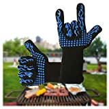 Dualeco Heat Resistant BBQ Gloves, Oven Gloves Silicone BBQ Gloves with Fingers, Oven Mitts for Cooking, Grilling, BBQ, Baking, Barbeque, Potholder (Blue Flame)