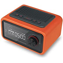 cuero multimedia mini despertador pequeño audio subwoofer Bluetooth altavoz radio TF tarjeta U disco AUX interfaz calendario temporizador apagado