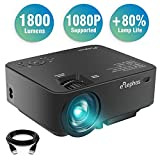 ELEPHAS Upgraded LED Source 1800 Luminous Flux (lm) Projector Multimedia LED Mini Video Projector for Home Theater Support 1080P PC Laptop PS4 Android Smartphone Xbox and TV Box etc, Black