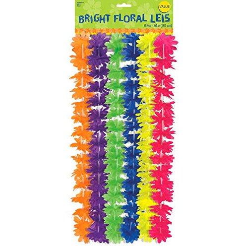 Amscan International Hawaiian 39394391cm Neon Rainbow Flower Leis Haar Clip (One Size)