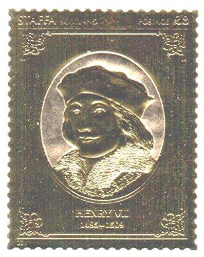 Gold-Briefmarken - Staffa 1977 Königin Silver Jubilee Henry VII 23k Goldfolie Briefmarke - Hohe Qualität - nie montiert - Postfrisch (Set Sammlung Blatt König)