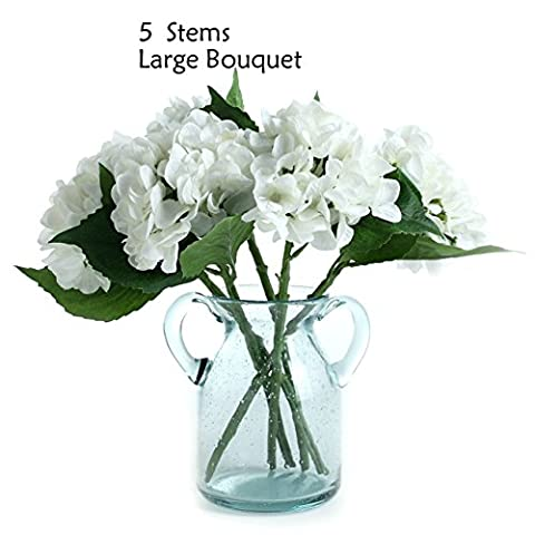 Hydrangea Artificial Fake Flowers, 5 Stems Make a Large Bouquet, Fancy Room Decor