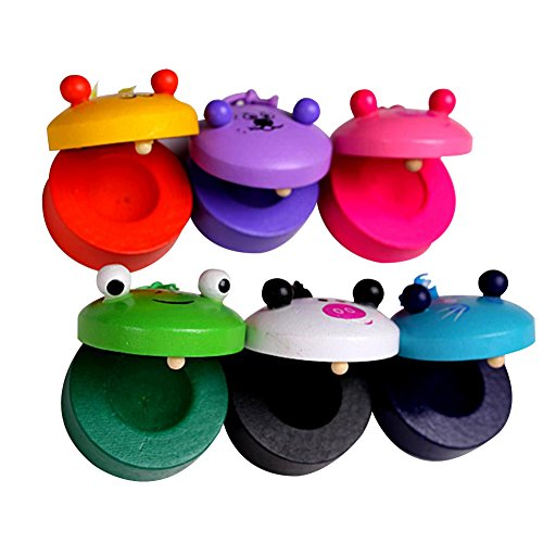 Dosige 2 PCS Wooden Animal Castanets Baby Early Education Musical Instrument Toys (Green-2)