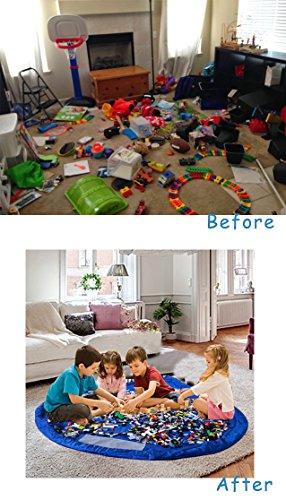 E-Bestar gran capacidad bolsa de almacenaje de juguetes multifuncional alfombra de juego para niños 2en 1bolsa de almacenamiento de juguetes (150cm/59') azul azul