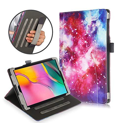 FAN SONG Hülle für Samsung Galaxy Tab A 10.1 2019(SM-T510/SM-T515), PU Leder Schutzhülle Smart Cover mit Handschlaufe, Auto Schlaf/Wach, Standfunktion, Stifthalter Galaxy Case Fan