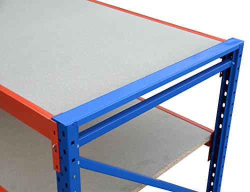 Werkbank fahrbar, Packtisch mit Holzboden verschiedene Breiten/Höhen/Tiefen/Ebenen (120/104/60cm (B/H/T), 2 Ebenen) - 5