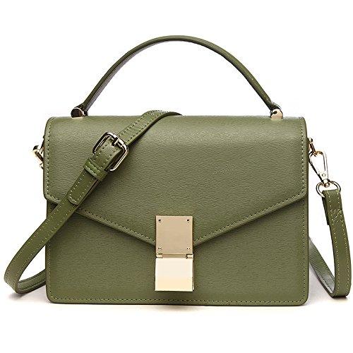 Meoaeo Tracolla Messenger Bag Borsetta In Pelle Di Tè Verde Green tea