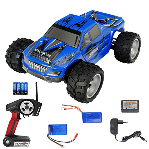 Monster-truck-bundle (FPS RTR Bundle: RC Monstertruck Elektro Auto Offroad Blau Schwarz, Rayline FR01 C15, A979 + 2x LiPo Akku + 4xAA Batterien, 2.4 GHz, 1:18, bis 50kmh)