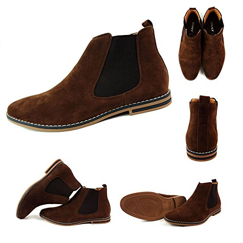 Herren Chelsea Boots, Wildleder, italienischer Stil, sportlich-elegant, Wildleder, braun, UK8 / EUR 42 (Chelsea Boots Wildleder)