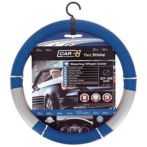 HABILL-AUTO Couvre Volant PVC Bleu-Gris Car+ pour Volant 37/39cm