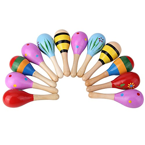Bujingyun Mini Wooden Fiesta/Ball Musical Instruments Maracas-12pcs(Colors Vary)