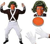 ILOVEFANCYDRESS Disfraz de adulto de trabajador de fábrica de chocolate (talla XXL), con camiseta marrón, peto blanco, peluca, guantes, cejas, pintura para la cara