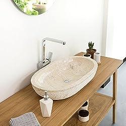 wohnfreuden Marmor Waschbecken Mara 70x40x13 cm oval gehämmert cremeBad Gäste WC