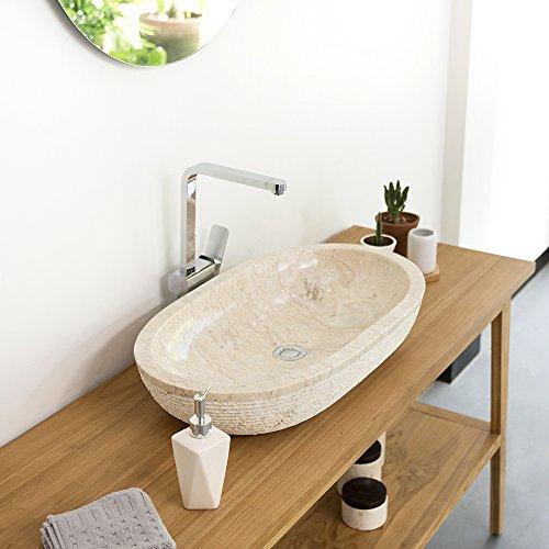 wohnfreuden Marmor Waschbecken Mara 70x40x13 cm oval gehämmert Unikat in Creme