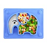 "Kids Plates Baby Suction Placemat - SILIVO Non Slip Silicone Toddlers Placemat with Suction Cups for Babies, Kids and Children - (10""x7.8""x1.1"")"