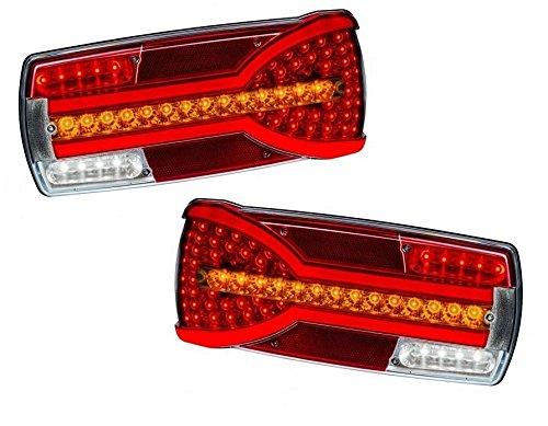 Preisvergleich Produktbild Set Neon 2 LED Rücklicht Kombination Lichter Dynamische Anzeige für LKW Truck Trailer für DAF Scania Man Renault Volvo