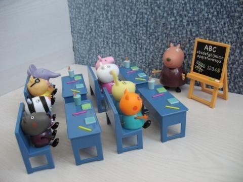 Image of Official Peppa Pig Classroom Playset - Madam Gazelle & Peppa Pig figures including Peppa Pig & Friends