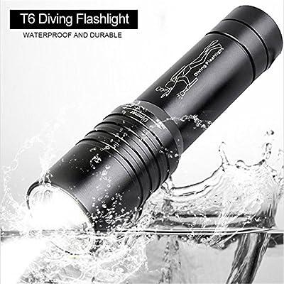 Bajo el agua Linterna 2000lm CREE T6LED Buceo Luz impermeable de buceo buceo Linterna Buceo Linterna lámpara para 18650recargable