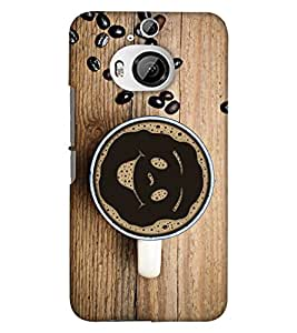 PrintHaat Designer Back Case Cover for HTC One M9 :: HTC One M9S :: HTC M9 :: HTC M9 Plus :: HTC M9+ (coffee on table :: coffee beans on table :: smiley in coffee mug :: love coffee :: coffee with beans in brown and wood color)