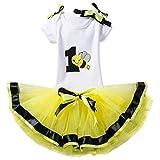 NNJXD Mädchen Newborn 1. Geburtstag 4 Stück Outfits Strampler + Tutu Kleid + Stirnband Größe (1) 1 Jahre Gelb