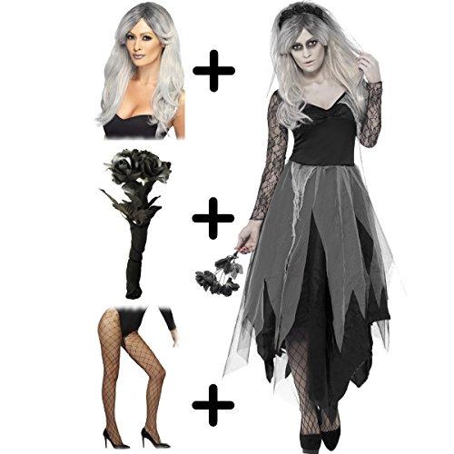 Smiffys International Graveyard Bride + Wig + Tights + Bouquet Ladies Halloween Fancy Dress Adults Womens Costume S (UK: 8-10) (Womens Halloween Fancy Dress Kostüm)