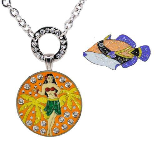 Navika Glitzy und in der Magnetische Halskette mit Swarovski Kristall Hula Girl nukunuku Hawaii-Ball Marker