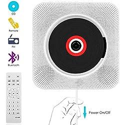 Lecteur CD,VIFLYKOO Lecteur de Musique Portable à Fixation Murale avec Haut-Parleur HiFi Radio FM MP3 USB Fonction de contrôle à Distance Jack 3,5 mm pour Enfants et Personnes âgées - Blanc