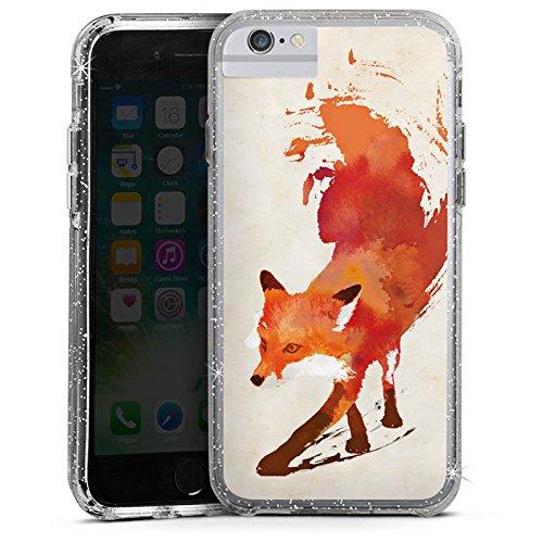 Apple iPhone 6 Bumper Hülle Bumper Case Glitzer Hülle Fox Fuchs Vulpes Bumper Case Glitzer silber