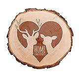 Casa Vivente Baumscheibe mit Gravur – Home is Where The Heart is – REH und Hirsch – Türschild – Wanddeko – Hochzeitsgeschenk, Geschenk für Freundin zum Valentinstag – Zum Einzug für Paare