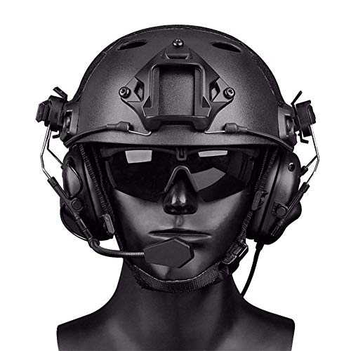 YOROOW-OUTDOOR Paintball Tactical Helm mit Speziellem Rail Noise Reduction Headset und Schutzbrille für Airsoft Shooting Hunting CS Game Protection,Black