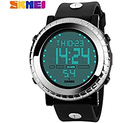 Outdoor fashion sports waterproof watch sports watches mountain climbing scratch Japanese electronic movement table male watch 50m waterwroof sport watch(Silver)