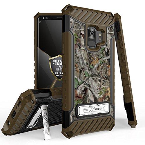 Außerhalb Zelle Galaxy S9Military Grade Drop getestet [Mil-STD 810g-516.6] Standfuß Card Slot Fall und Atom Tuch für Samsung Galaxy S9, Realtree Hunter Forest Tree Leaves Camouflage -